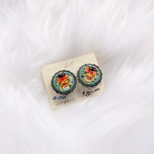 Vintage Mosaic clip on earrings